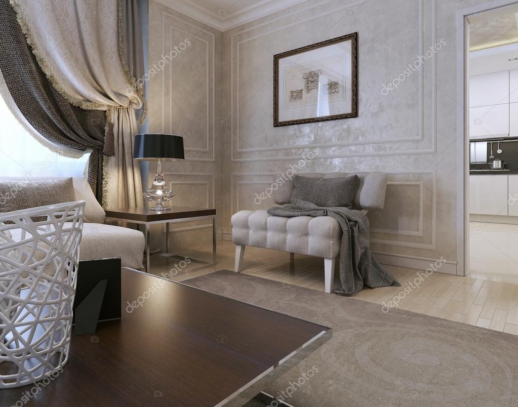 Vardagsrum, art deco stil, klassisk stil — stockfotografi ...