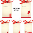 Set of beautiful birthday tags with red ribbon. — Stock Photo