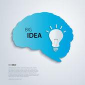 Blue brain with bulb, idea concept. — Stock Vector