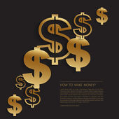 Gold dollar signs background — Vetorial Stock
