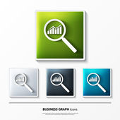 Set of glossy vector icons on button with business graph. — Stock Vector