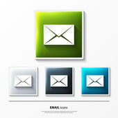 Set of glossy vector icons on button with email. — Vector de stock
