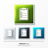 Set of glossy vector icons on button with checklist. — Stock Vector