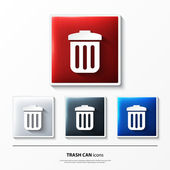 Set of glossy vector icons on button with trash can. — Vecteur