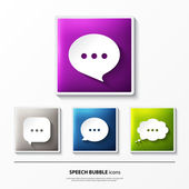 Set of glossy vector icons on button with speech bubbles. — Stock Vector