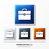 Set of glossy vector icons on button with business suitcase. — Stock Vector