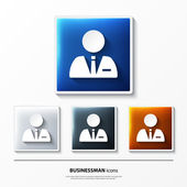 Set of glossy vector icons on button with businessman. — Stock Vector