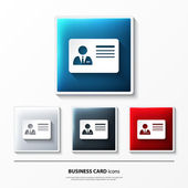 Set of glossy vector icons on button with business card. — Stock Vector