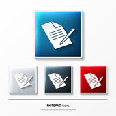Set of glossy vector icons on button with notepad. — Stock Vector