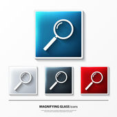 Set of glossy vector icons on button with magnifying glass. — Stock Vector