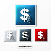 Set of glossy vector icons on button with dollars signs. — Stock Vector