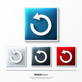 Set of glossy vector icons on button with repeat symbol. — Stockvector