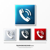 Set of glossy vector icons on button with telephone receiver. — Vecteur