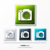 Düğmesini kamera ile parlak vektör simge kümesi. — Stok Vektör
