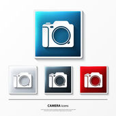Set of glossy vector icons on button with camera. — Vector de stock