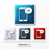 Set of glossy vector icons on button with mobile sms. — Stockvector