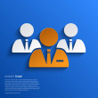 Vector business team illustration on blue background. — Stock Vector #45972955