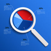 Vector analysis. Magnifying glass with business pie. — Vettoriale Stock