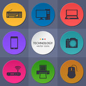Vector collection of colorful flat technology. — Stock Vector