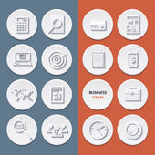 Vector flat icons of business workflow items and elements, office things and equipment. — Vector de stock