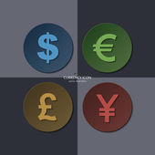 Vector set of currency icons, dollar, euro, pound, yen. — Stok Vektör