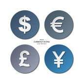 Vector set of currency icons, dollar, euro, pound, yen. — Stock Vector
