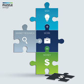 Illustration of piece of jigsaw puzzle showing business equation. — ストックベクタ