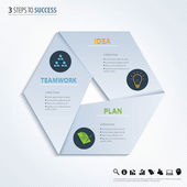 Three steps to success. Vector design element. — Stock Vector