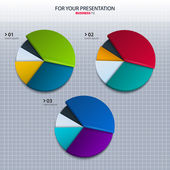 Vector set of colorful pie charts - for your presentation. — Stock Vector