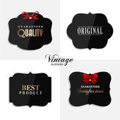 Vector vintage quality labels with ribbon. — Stock Vector