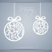 Greeting card with paper christmas balls. — ストックベクタ