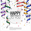 Birthday card with curling stream, confetti and birthday text. — Stock Vector #46175407