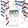 Birthday card with curling stream, confetti and birthday text. — Stock Vector
