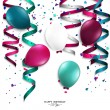 Vector birthday card with curling stream, confetti, balloons, and birthday text. — Stock Vector #46175859