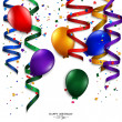 Vector birthday card with curling stream, confetti, balloons, and birthday text. — Stock Vector