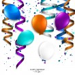 Vector birthday card with curling stream, confetti, balloons, and birthday text. — Stock Vector #46176059