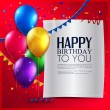 Vector birthday card with balloons, and birthday text on red background. — Stock Vector #46176693