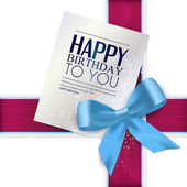 Birthday card with blue ribbon and birthday text. — Stock Vector