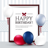 Vector birthday card with balloons and frame. — Stock Vector