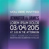 Bruiloft uitnodiging in felle kleur. — Stockvector