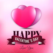 Happy Valentine's Day lettering Greeting Card with hearts. — Stock Vector