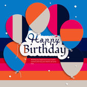 Vector birthday card with balloons, and birthday text. — Stock Vector