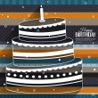 Vector birthday card with cake on stripes colorful background. — Stock Vector