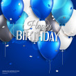 Vector birthday card with balloons and birthday text on blue background. — Stock Vector #47299107