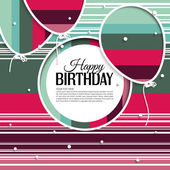 Vector birthday card with balloons and birthday text on stripes background. — Stock Vector