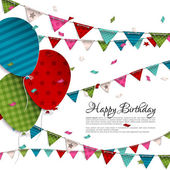 Vector birthday card with balloons and bunting flags. — 图库矢量图片