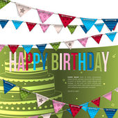 Vector birthday card with bunting flags. — Stock Vector