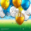 Vector birthday card with balloons and birthday text on colorful background. — Stock Vector #48805575