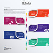 Vector infographic timeline showing business plan with icons. — ストックベクタ