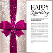 Vector birthday card with pink ribbon and birthday text. — Stock Vector